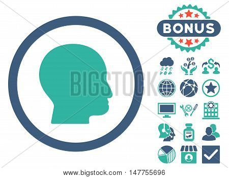 Bald Head icon with bonus elements. Vector illustration style is flat iconic bicolor symbols, cobalt and cyan colors, white background.
