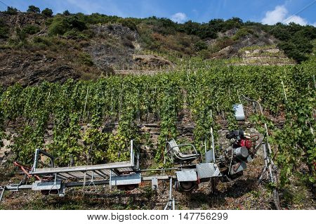 Famous train rail in German Wineyard Region Moselle River Winningen 2