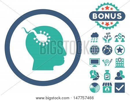Brain Parasite icon with bonus elements. Vector illustration style is flat iconic bicolor symbols, cobalt and cyan colors, white background.
