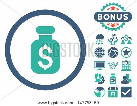 Business Remedy icon with bonus pictures. Vector illustration style is flat iconic bicolor symbols, cobalt and cyan colors, white background.