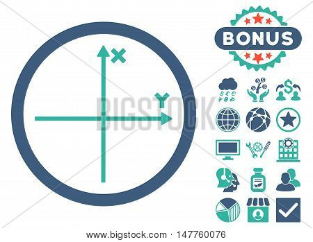 Cartesian Axis icon with bonus design elements. Vector illustration style is flat iconic bicolor symbols, cobalt and cyan colors, white background.