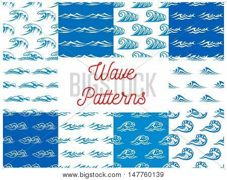 Blue waves seamless pattern set with blue and white waterscape of stormy ocean and sea with billowing waves. Nature theme, marine travel or summer vacation design