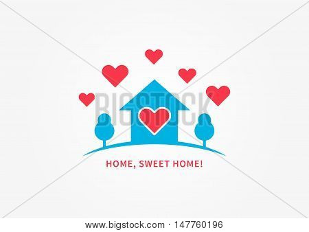 Home silhoutte with heart shapes vector illustration. Home sweet home quote creative concept.