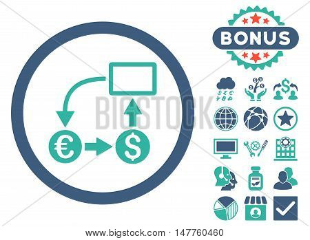 Cashflow Euro Exchange icon with bonus symbols. Vector illustration style is flat iconic bicolor symbols, cobalt and cyan colors, white background.