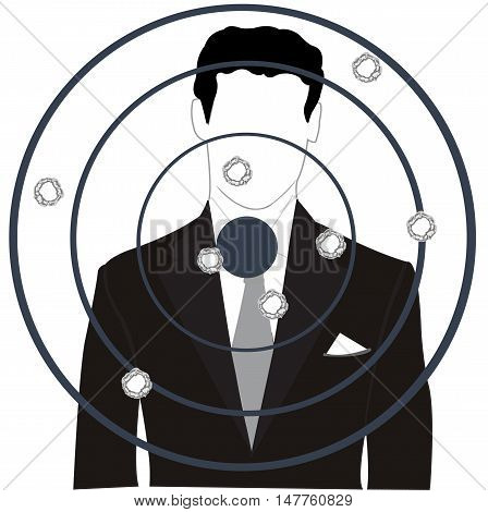 Silhouette of the person on dartboard and holes from pool