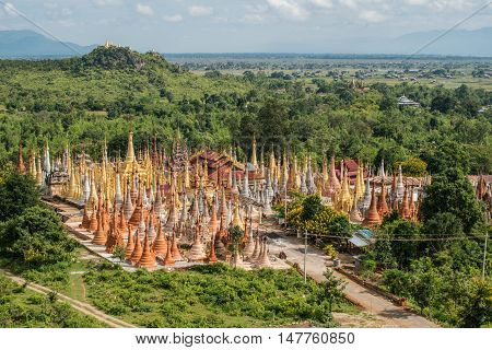 The group of oldest pagoda Shwe-indein located at Inle lake of Myanmar.