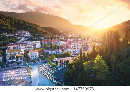 Parga port - greek island - tourist resort in Greece - sea holidays, blue sea - vacation place