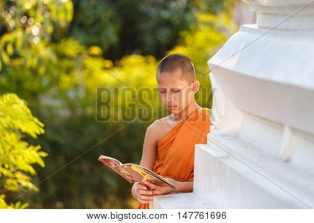 Young Novice monk reading a Buddhist Scriptures at Ayutthaya historical park in Thailand