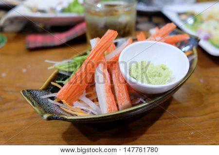 Crab stick with wasabi ready to eat japanese food