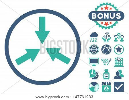 Collide Arrows icon with bonus images. Vector illustration style is flat iconic bicolor symbols, cobalt and cyan colors, white background.