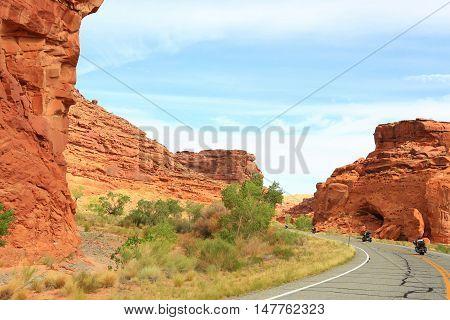 Motorcycling through Glen Canyon National Park , Utah