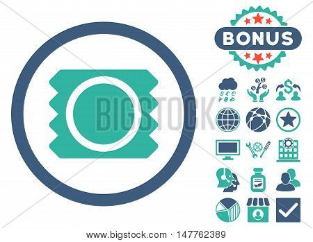 Condom icon with bonus design elements. Vector illustration style is flat iconic bicolor symbols, cobalt and cyan colors, white background.