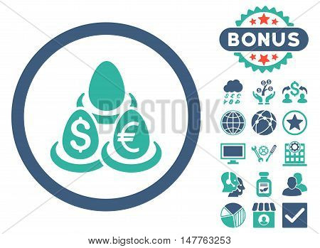 Currency Deposit Diversification icon with bonus design elements. Vector illustration style is flat iconic bicolor symbols, cobalt and cyan colors, white background.