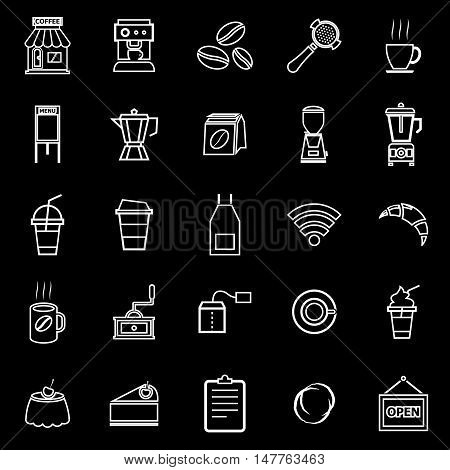 Coffee shop line icons on black background, stock vector