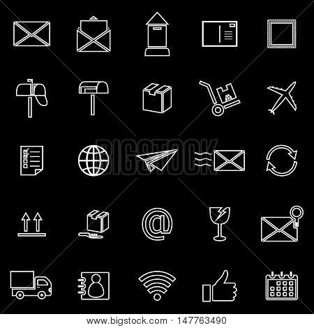 Post line icons on black background, stock vector