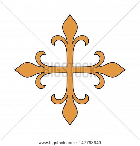 Gold cross icon. religion culture and symbol theme. Isolated design. Vector illustration