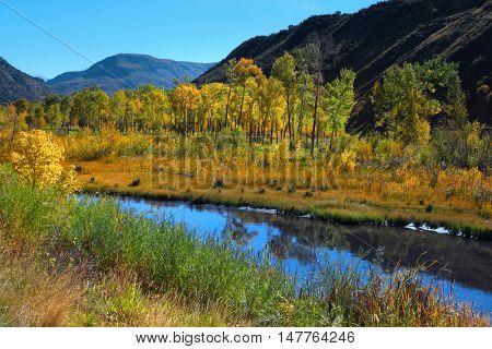 Gunnison river in autumn time.