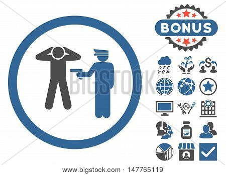 Arrest icon with bonus images. Vector illustration style is flat iconic bicolor symbols, cobalt and gray colors, white background.