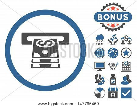 Bank Cashpoint icon with bonus pictures. Vector illustration style is flat iconic bicolor symbols, cobalt and gray colors, white background.