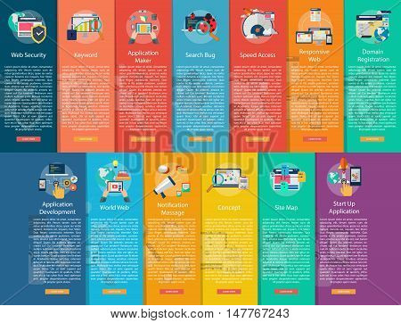 Web and Development Vertical Banner Concept   Set of great vertical banner flat design illustration concepts for web, development, concept, marketing and much more.