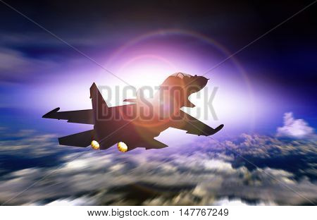 Fighter jet flying facing sunset with sunlight glare