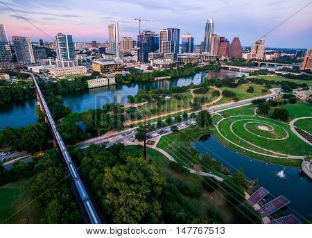 Summertime Sunset Austin Texas Skyline Cityscape Over Butler Park with Modern Architecture in the capital city Aerial View