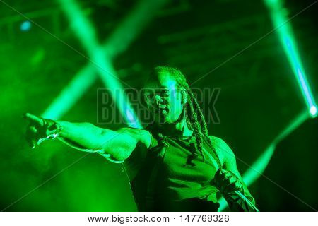 BUDVA- JULY 16 2015: THE PRODIGY BAND GIG ON THE MAIN STAGE AT SEA DANCE FESTIVAL. MUSIC FESTIVAL JULY 16 2015 IN BUDVA JAZ BEACH MONTENEGRO