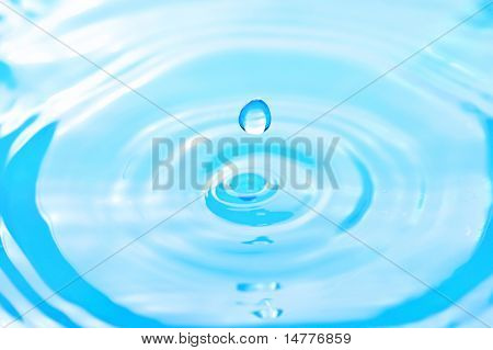 Water drop in rippled liquid close-up