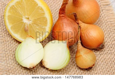 Fresh Onions And Lemon, Healthy Nutrition And Strengthening Immunity