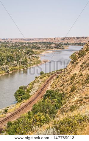 Railroad tracks running along the Yellowstone River in eastern Montana