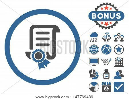 Certified Scroll Document icon with bonus symbols. Vector illustration style is flat iconic bicolor symbols, cobalt and gray colors, white background.