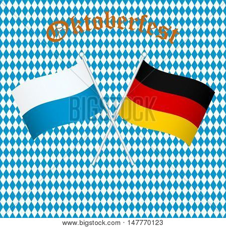 The flags of Germany and Bayern Munich on a Bavarian background seamless color background with rhombus