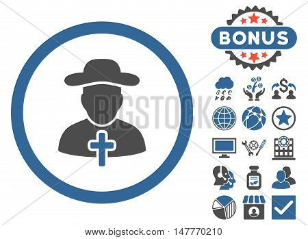Clergy icon with bonus elements. Vector illustration style is flat iconic bicolor symbols, cobalt and gray colors, white background.