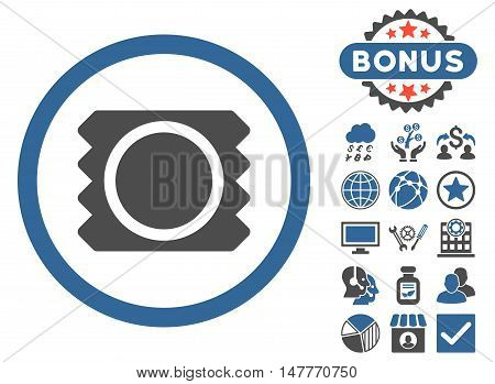 Condom icon with bonus pictogram. Vector illustration style is flat iconic bicolor symbols, cobalt and gray colors, white background.