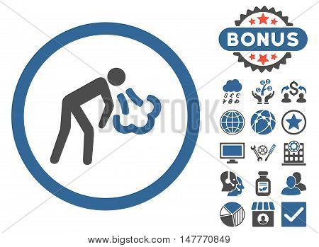 Cough icon with bonus elements. Vector illustration style is flat iconic bicolor symbols, cobalt and gray colors, white background.