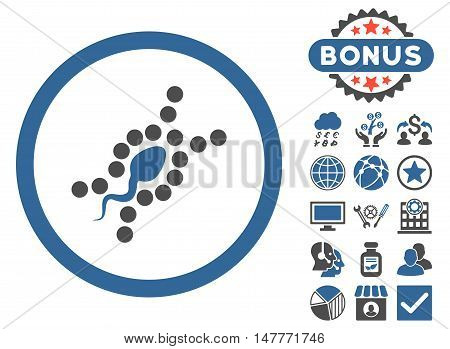 DNA Replication icon with bonus images. Vector illustration style is flat iconic bicolor symbols, cobalt and gray colors, white background.