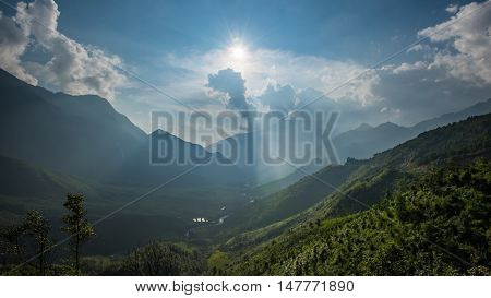 The summit beautiful landscape of Fan Si Pan or Phan Xi Pang mountain the highest mountain in Indochina at Sapa Vietnam view of when look at from view point near Sapa.