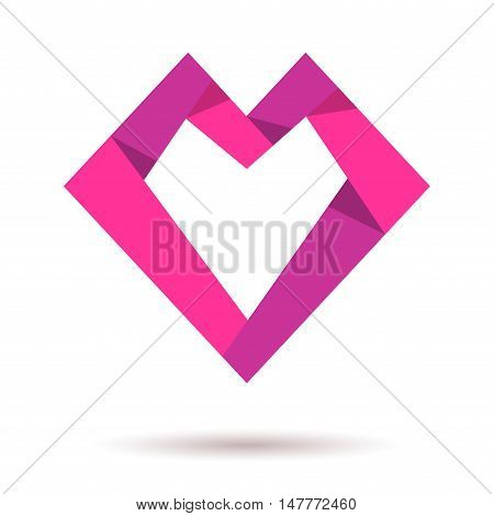 Pink paper heart. Heart shaped origami. Heart icon. Together logo. Love icon. Logo red heart together. Charity logo family children baby mother union charity logo. Vector heart logo icon