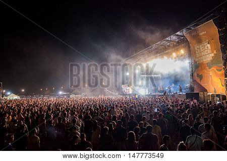 BUDVA- JULY 16 2015: CROWD IN FRONT OF THE MAIN STAGE ON DUBIOZA KOLEKTIV GIG AT SEA DANCE FESTIVAL 2015 MUSIC FESTIVAL JULY 16 2015 IN BUDVA JAZ BEACH MONTENEGRO