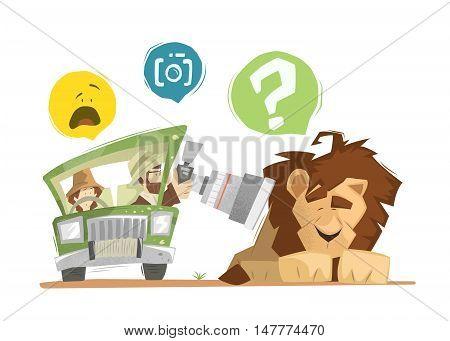 Safari illustration. Man and woman happy family on safari. Brave photographer making a photo of wild sleeping lion.