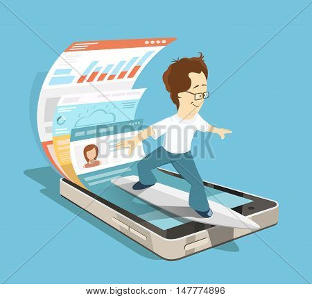 Young programmer software engineer. Mobile app application with ui and ux design development concept. Creative color illustration.