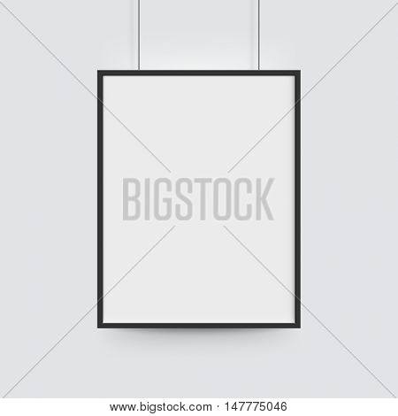 White blank poster with black frame. Vector poster mockup template on light background