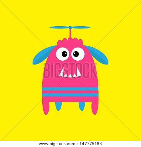 Funny monster with fang tooth and horns. Cute cartoon character. Pink color. Baby collection. Isolated. Happy Halloween card. Yellow background. Flat design. Vector illustration.