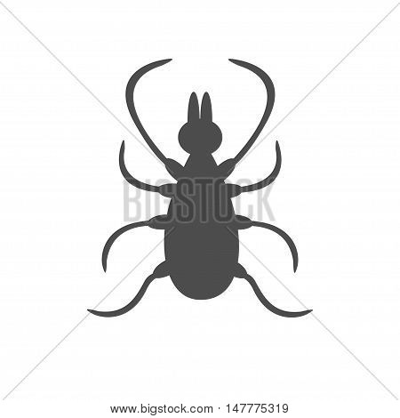 Tick insect silhouette. Mite deer ticks big icon. Dangerous black parasite. White background. Isolated. Flat design. Vector illustration