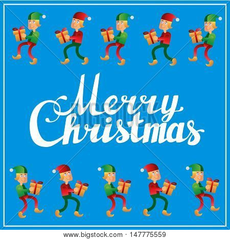 Square postcard with Holidays hand lettering words merry christmas caligraphy