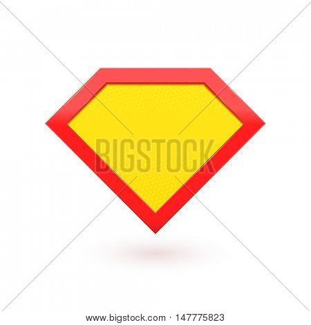 Super hero shield emblem. Vector diamond shape superhero icon.