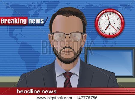 Breaking news. Bearded man in glasses. News announcer in the studio. Vector illustration
