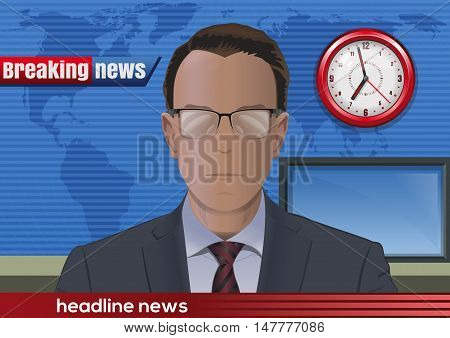 Breaking news. Silhouette of a man with glasses. News announcer in the studio. Vector illustration