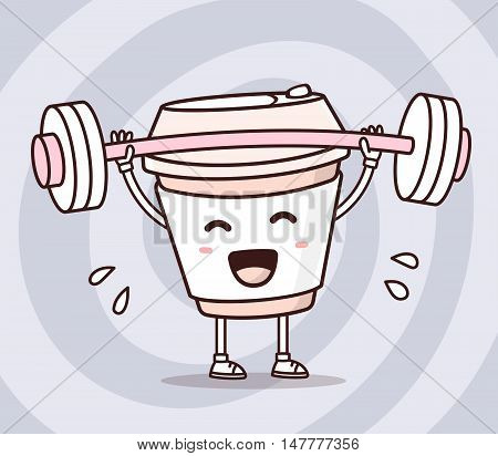 Vector Illustration Of Takeaway Coffee Cup With Barbell Lifting Weights On Gray Background. Exercisi