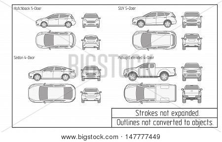 car sedan and suv drawing outline strokes not expanded
